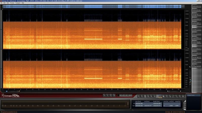 """Spektrum-Analyse der veröffentlichten ersten Audio-Tonspur von """"Germanwings Flight 4U9525 Airbus A320 Black Box Crash Audio Recording D APIX Andreas Lubitz"""" Screenshot"""