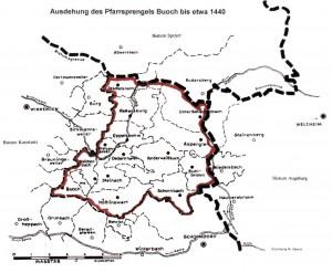 Pfarrsprengel Buoch um 1440